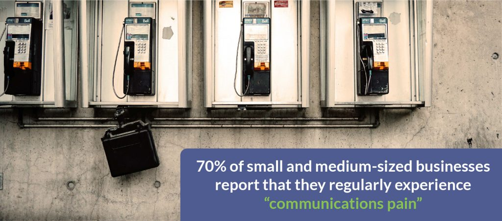 "70% of small and medium-sized businesses report that they regularly experience ""communications pain"""
